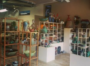 shelving and pottery