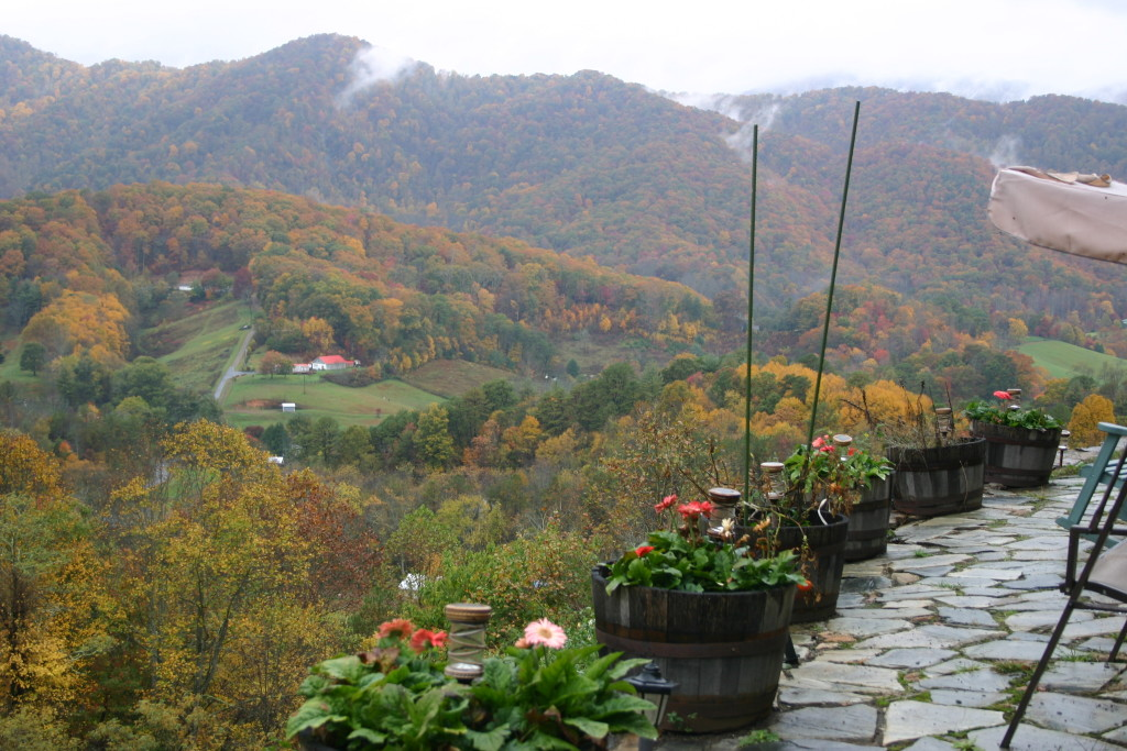 Planters of summer flowers with a backdrop of fall colors on the mountainside