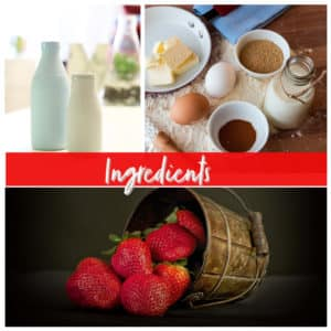 flour milk eggs sugar strawberries and yogurt