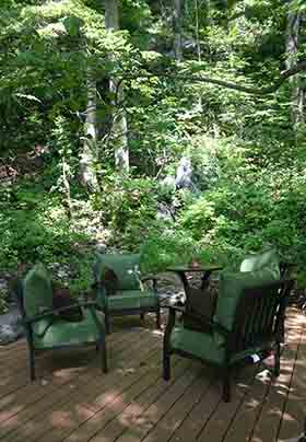 Forest seating area, forest retreat