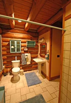 Large bathroom view with logwall and sink/storage cabinet