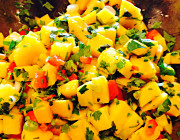 Amazing light summer mango salsa in wood bowl