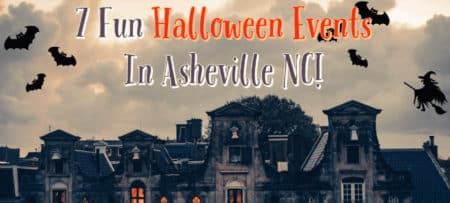 "Scary haunted house with text : ""7 Fun Halloween Events in Asheville, NC!"""