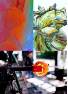Collage of 3. abstract orange and blue painting, multicolored glass vase with tulip top, pictured from above. 3rd picture horizontal below other 2, of orange glass bubble being blown.