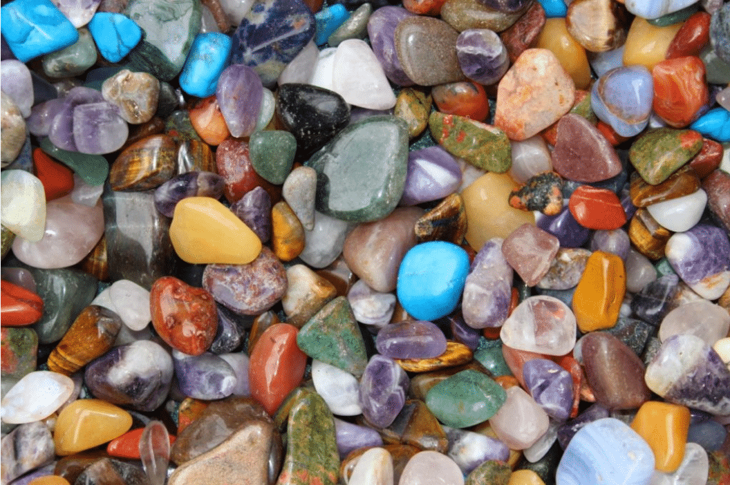 Brightly colored gems and rocks