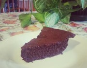 Wedge of moist Chocolate torte on white plate