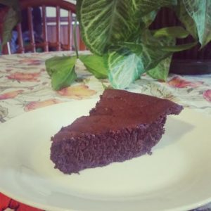 Wedge of Chocolate torte on white plate