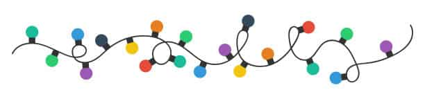 Animated string of colorful Christmas lights