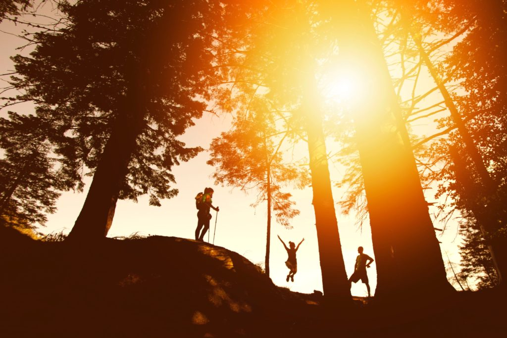 Distance, from below shot. Three people silhouetted hiking on trail at sunset. One jumping joyfully. One holding walking stick.