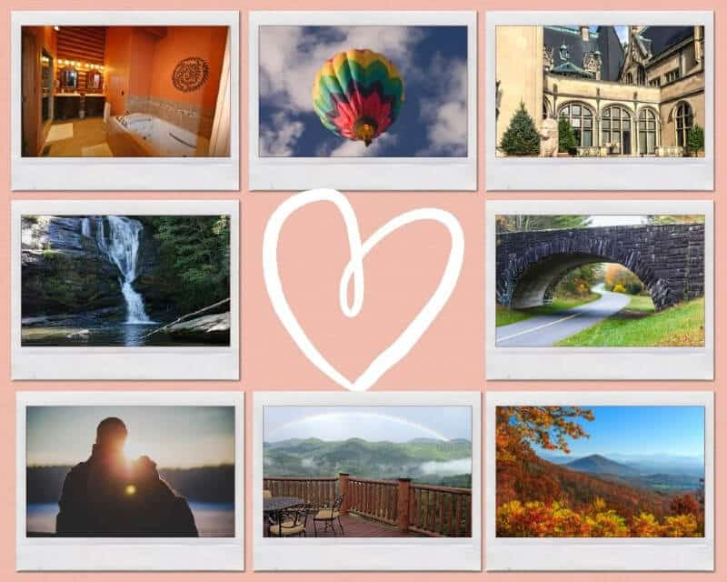 Collage of romantic things to do in Asheville, NC - ballloonng, hiking, waterfalls, road trip