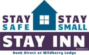 Pictorial of home with 1 central 4 pane window and text: Stay Safe, Stay Small, Stay Inn - Book Direct