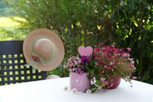 Outside table with 2 pots of pink flowers. Grid-back chair with ribboned straw hat hanging on it. Bush behind it.