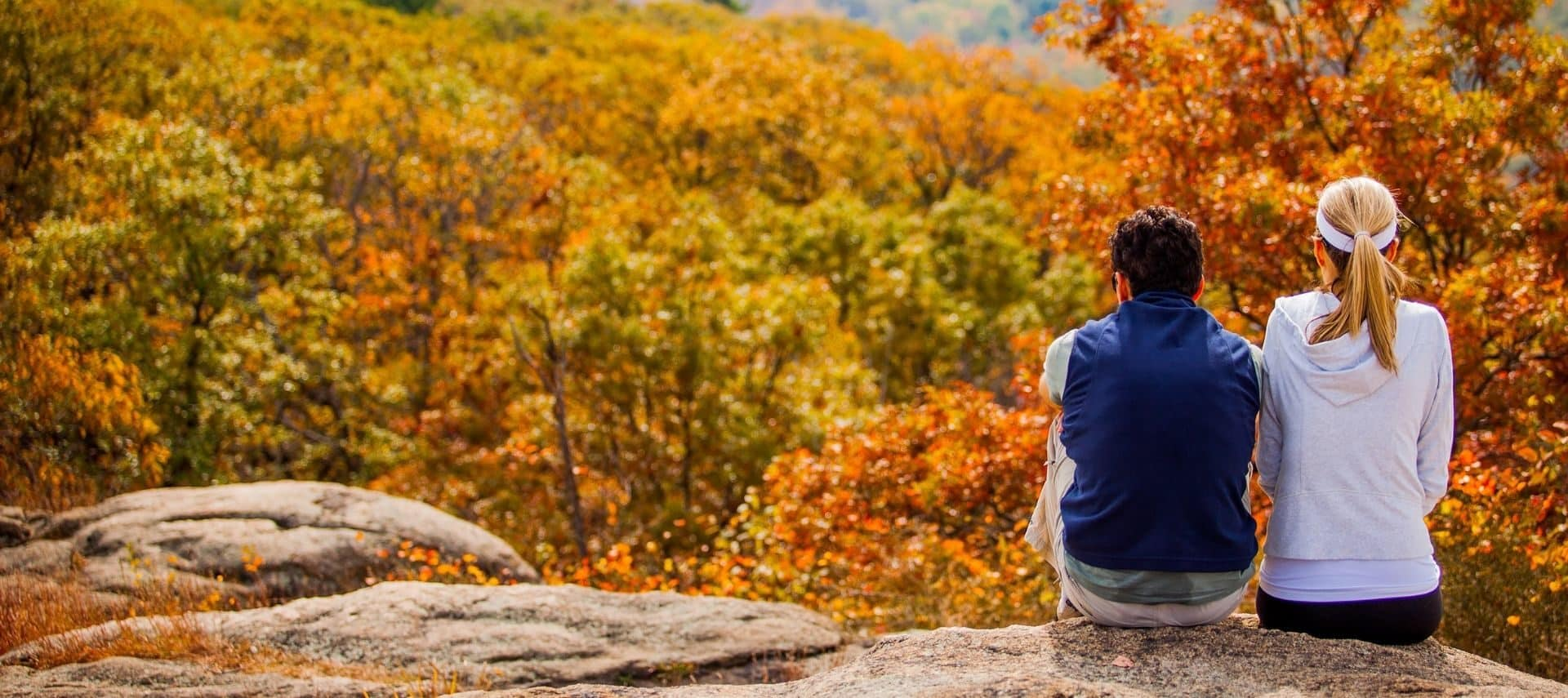 Couple sitting side side on a rocky ledge surrounded by colorful trees during the fall