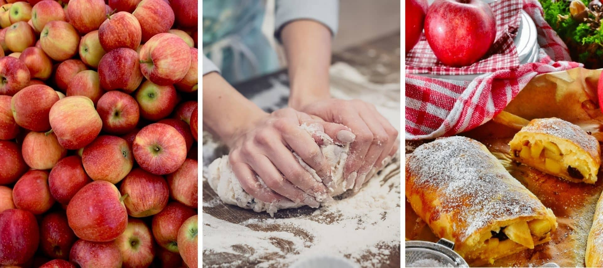 Pile of red apples, person kneading dough, baked apple strudel