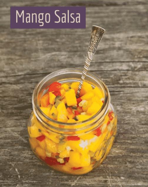 Jar of Wildberry's fresh made mango salsa