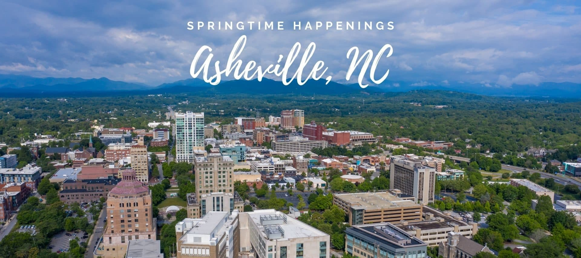 Aerial overviefw of downtown Asheville during the day